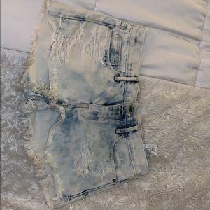 Ripped white washed shorts